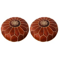 Moroccan Handmade Dark Leather Brown Pouf or Ottoman, a Pair