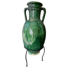 Moroccan Handmade Glazed Large Amphora, Mid-Century Modern