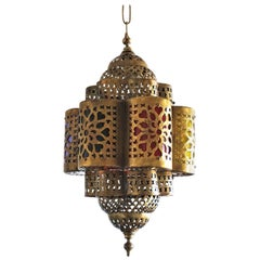 Moroccan Handmade Hexagonal Brass and Multi-Color Electrified Lantern