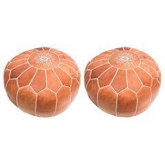 Moroccan Handmade Leather Brown Pouf or Ottoman, a Pair