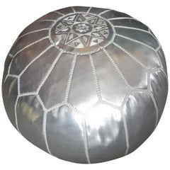 Moroccan Handmade Pouf or Ottoman, Silver
