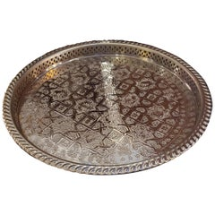 Moroccan Handmade Serving Tray, Silver Finish
