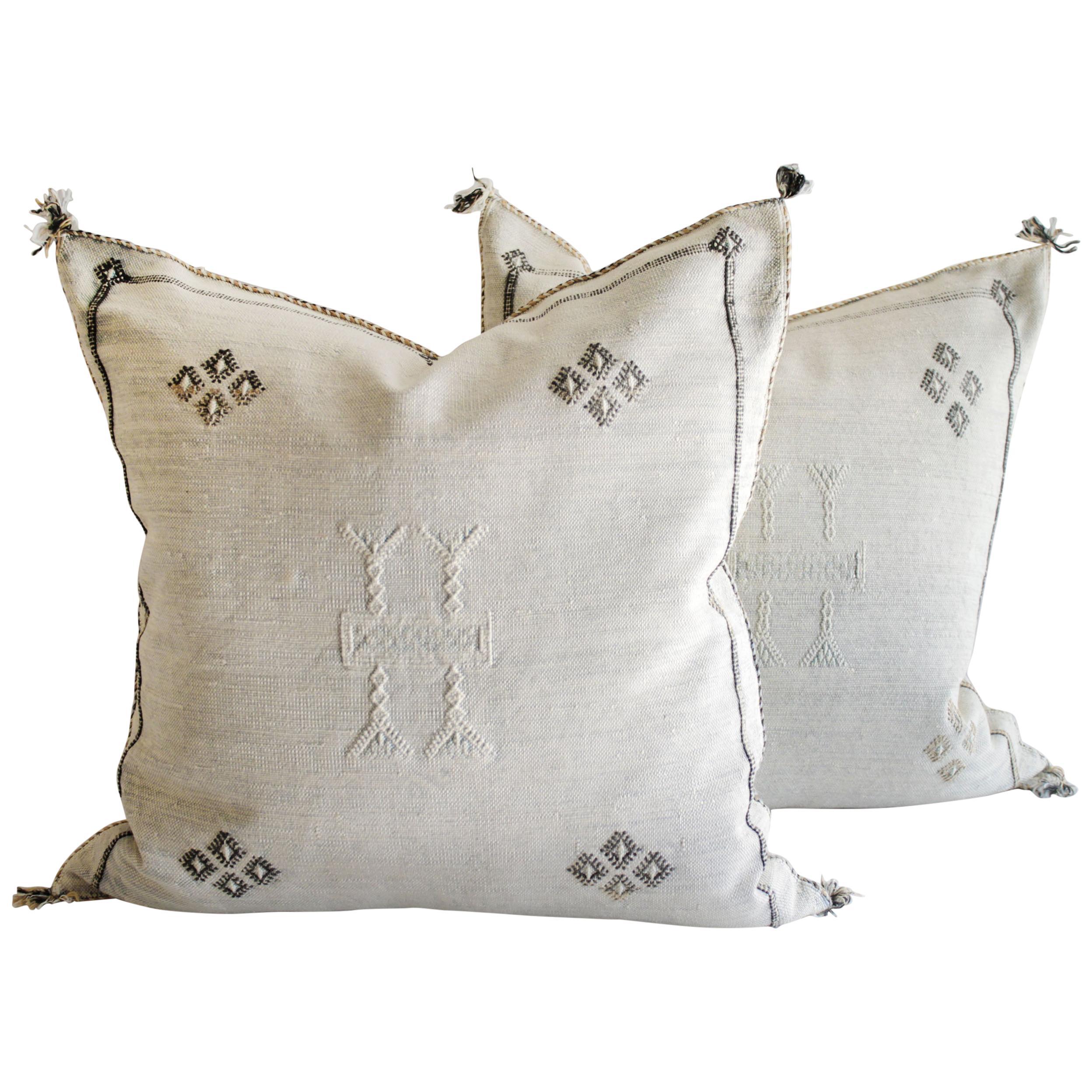 Moroccan Cactus Silk Pillow Cover-Handmade-Handwoven