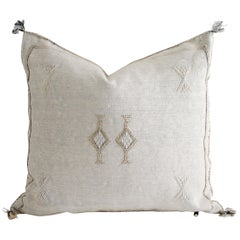 Moroccan Handwoven Cactus Silk Pillow with Diamond Pattern