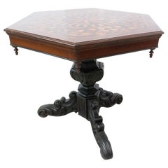 Moroccan Hexagonal Marquetry Side Table Ebonized Pedestal Table