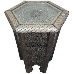 Moroccan Hexagonal Metal Inlaid Side Table