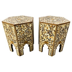 Moroccan Hexagonal Side, End Table with leaf Design, a Pair