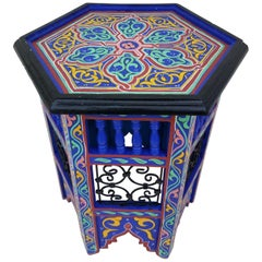 Moroccan Hexagonal Wooden End Table, Hand Painted 3