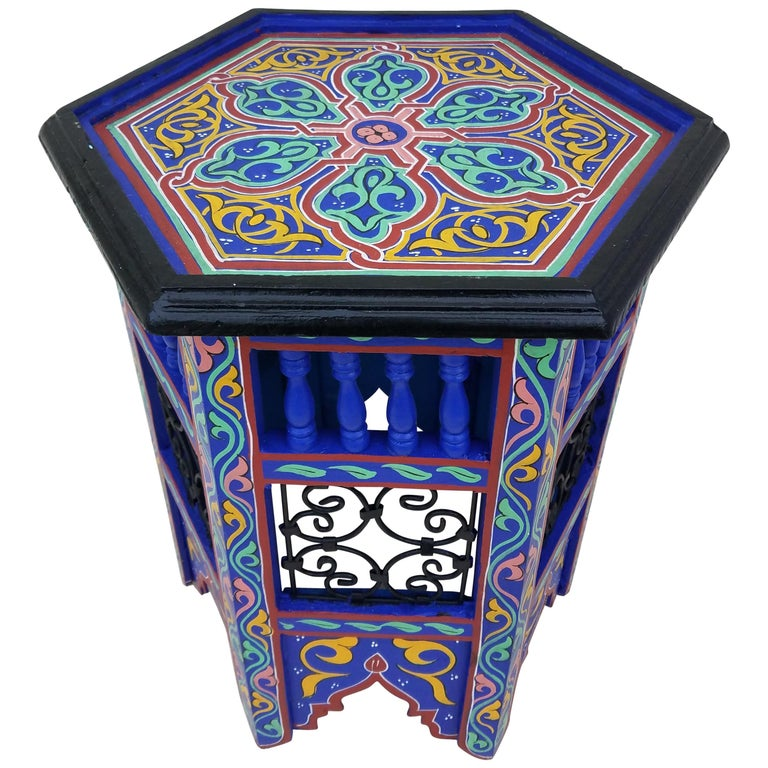 Moroccan Hexagonal Wooden End Table, Hand Painted 3 at 1stdibs