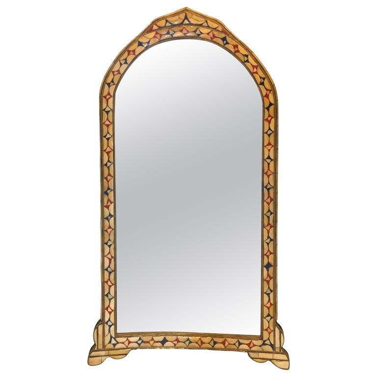 Moroccan Hollywood Regency Style Bone over Brass Inlay Floor or Wall Mirror For Sale