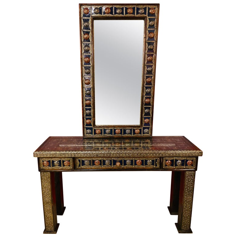 Moroccan Hollywood Regency Style Console & Mirror in Filligree Brass & Stones For Sale