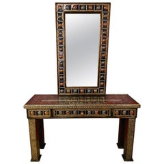 Moroccan Hollywood Regency Style Console & Mirror in Filligree Brass and Stones