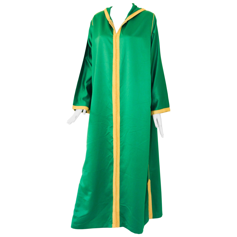 Moroccan Hooded Caftan Emerald Green Djellabah Kaftan