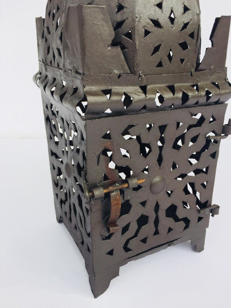 Moroccan Hurricane Metal Candle Lantern Indoor or Outdoor For Sale 6