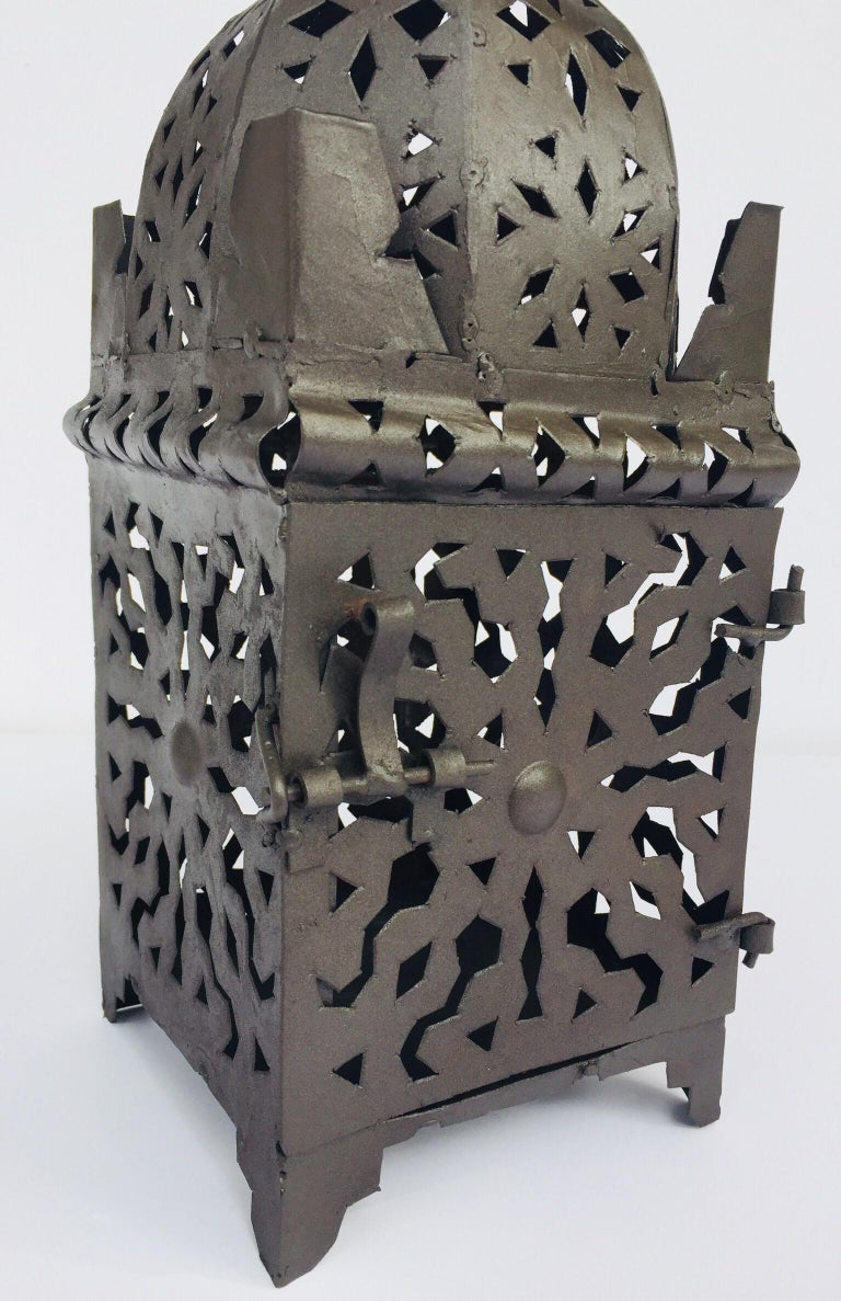 Moroccan Hurricane Metal Candle Lantern Indoor or Outdoor For Sale 9