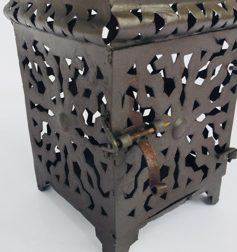Moroccan Hurricane Metal Candle Lantern Indoor or Outdoor For Sale 3
