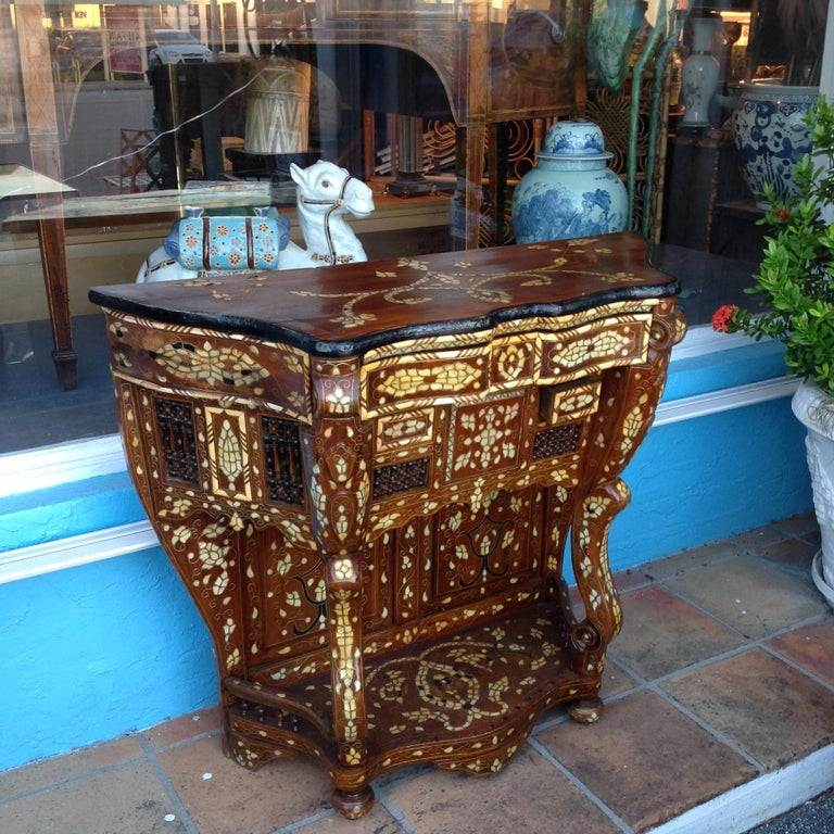 Inlay Moroccan Inlaid Console For Sale