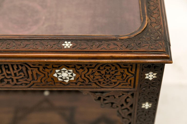 Hand-Carved Moroccan Inlaid Vitrine For Sale