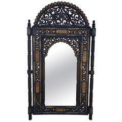 Moroccan K1 Mirror, Framed with Orange Dye Camel Bone