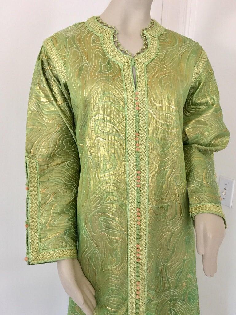 Moorish Moroccan Kaftan in Green and Gold Brocade Metallic Lame For Sale