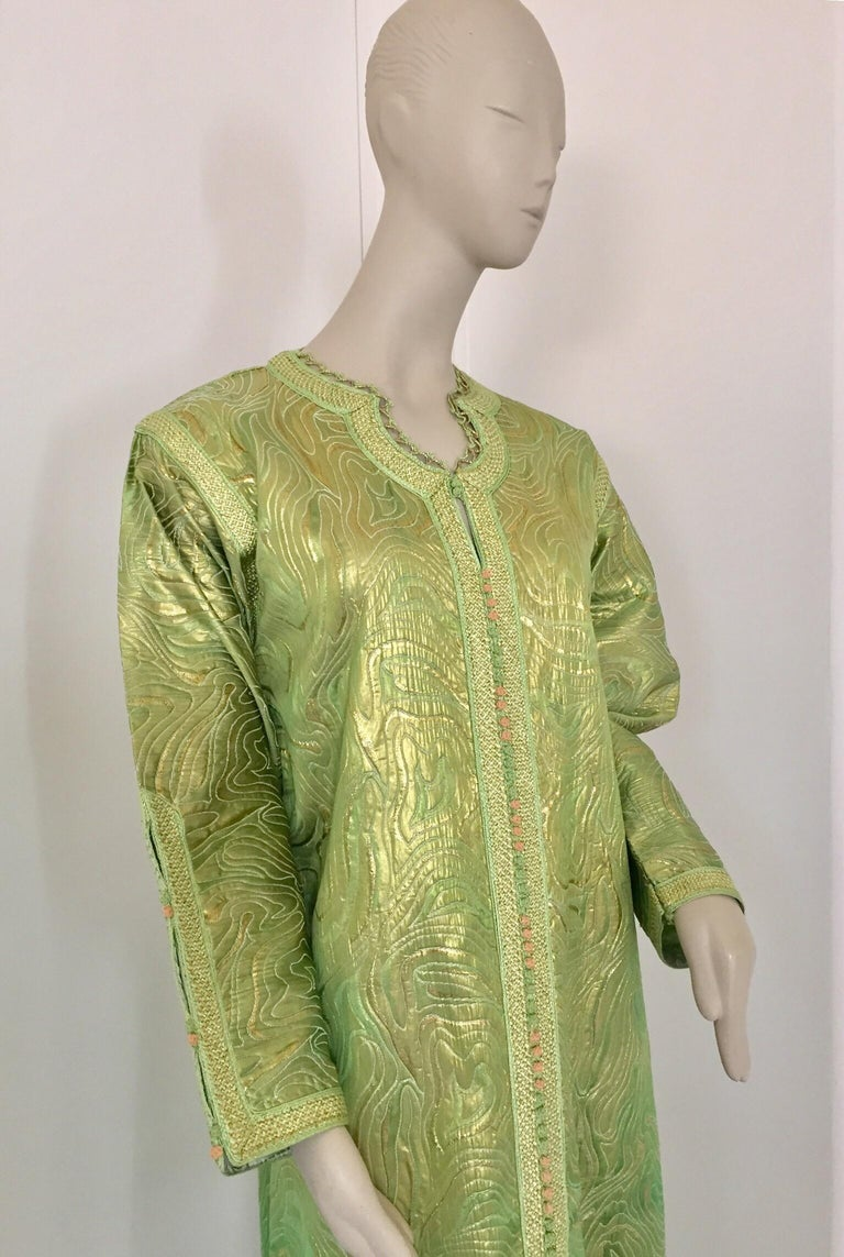 Hand-Crafted Moroccan Kaftan in Green and Gold Brocade Metallic Lame For Sale
