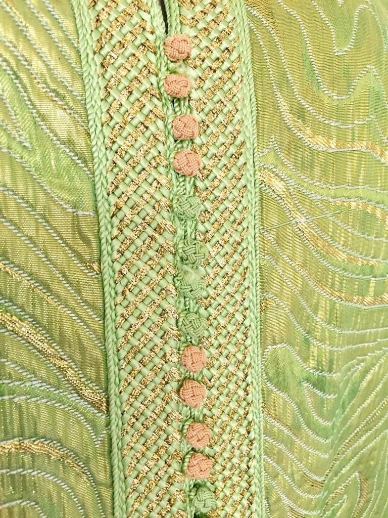 Fabric Moroccan Kaftan in Green and Gold Brocade Metallic Lame For Sale