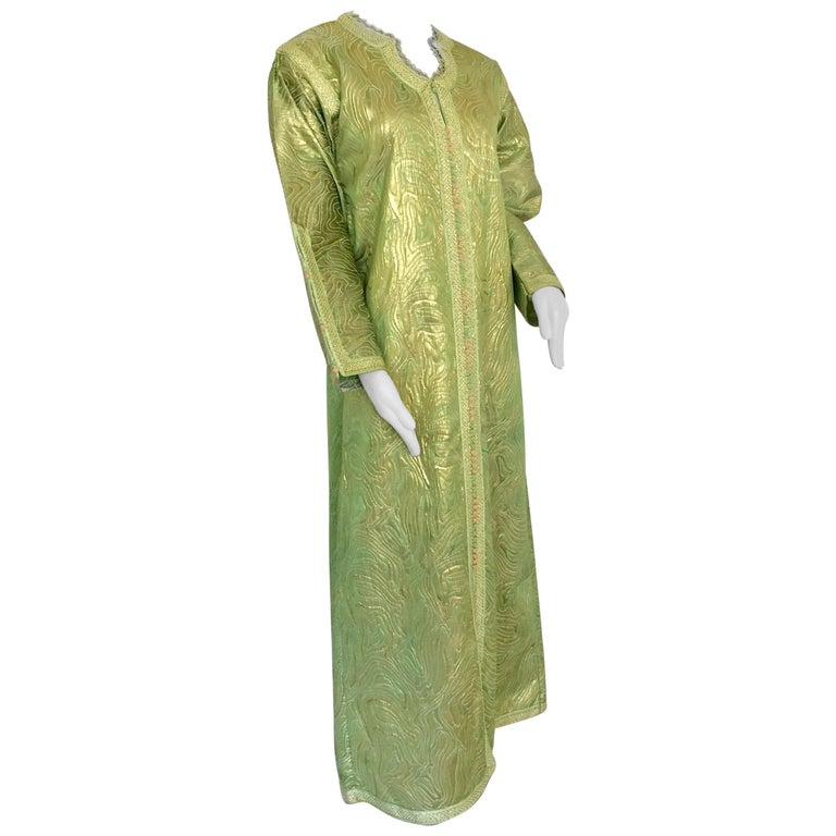 Moroccan Kaftan in Green and Gold Brocade Metallic Lame For Sale