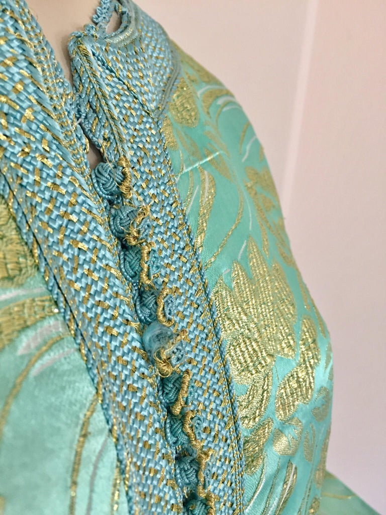 Moroccan Kaftan in Turquoise and Gold Floral Brocade Metallic Lame For Sale 8