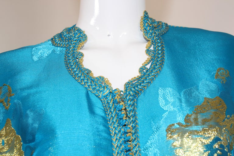 Moroccan Kaftan in Turquoise and Gold Floral Brocade Metallic Lame For Sale 11