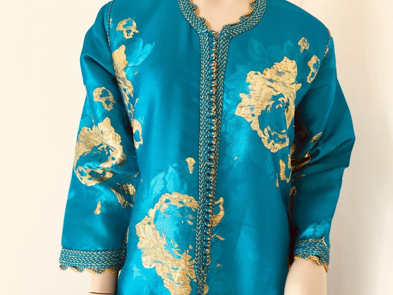 Moorish Moroccan Kaftan in Turquoise and Gold Floral Brocade Metallic Lame For Sale