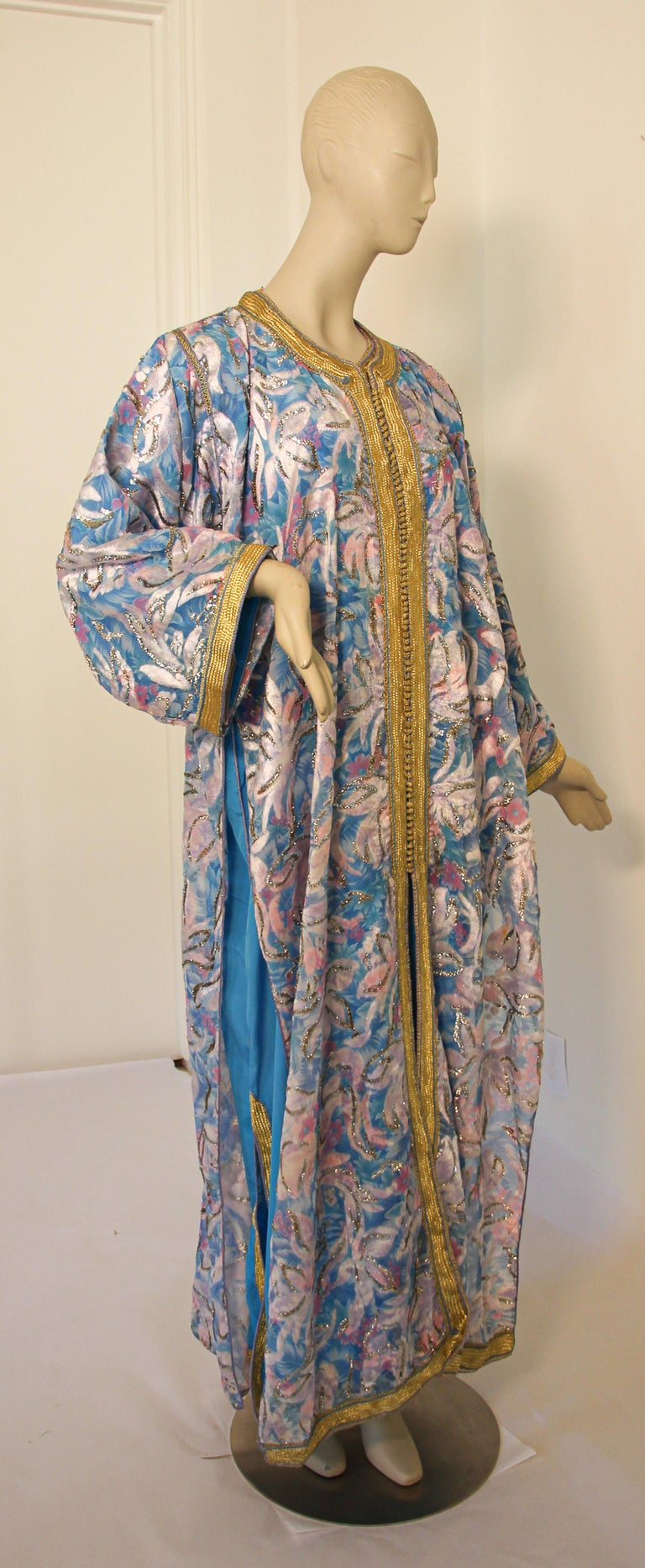 Moorish Moroccan Kaftan in Turquoise and Gold Floral Brocade Metallic Lame For Sale