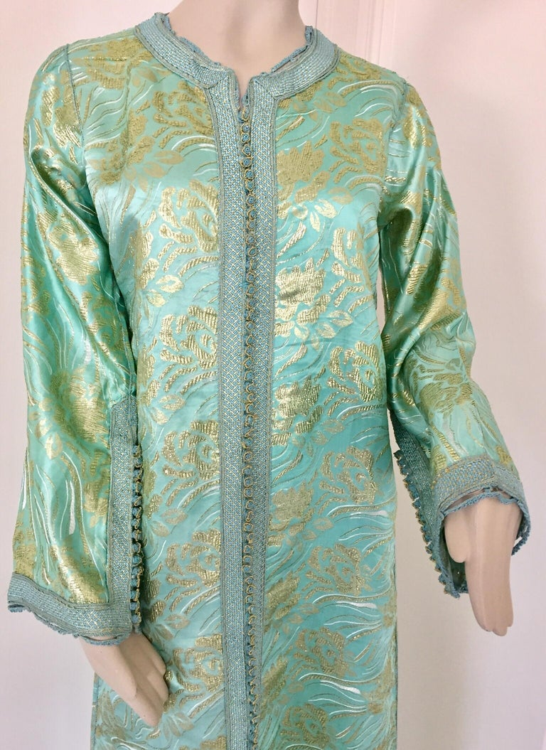 Hand-Crafted Moroccan Kaftan in Turquoise and Gold Floral Brocade Metallic Lame For Sale