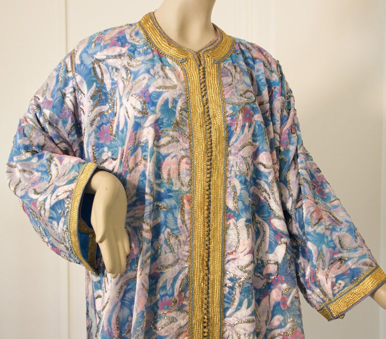 20th Century Moroccan Kaftan in Turquoise and Gold Floral Brocade Metallic Lame For Sale