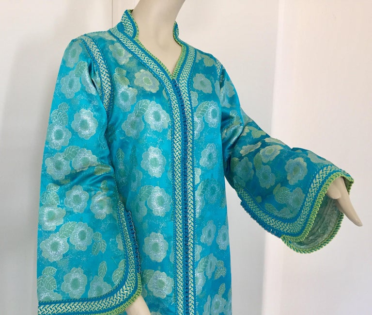 Fabric Moroccan Kaftan in Turquoise and Gold Floral Brocade Metallic Lame For Sale