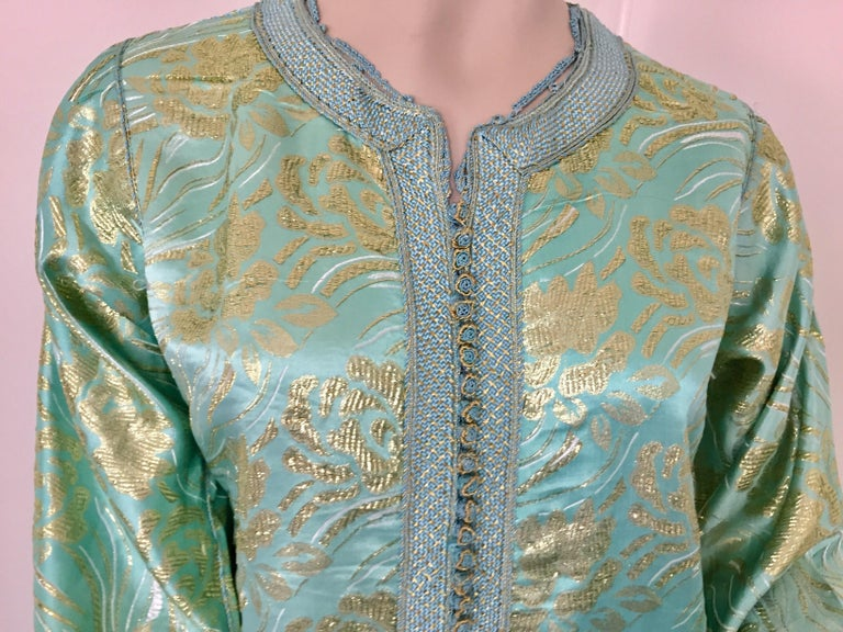 Moroccan Kaftan in Turquoise and Gold Floral Brocade Metallic Lame For Sale 1