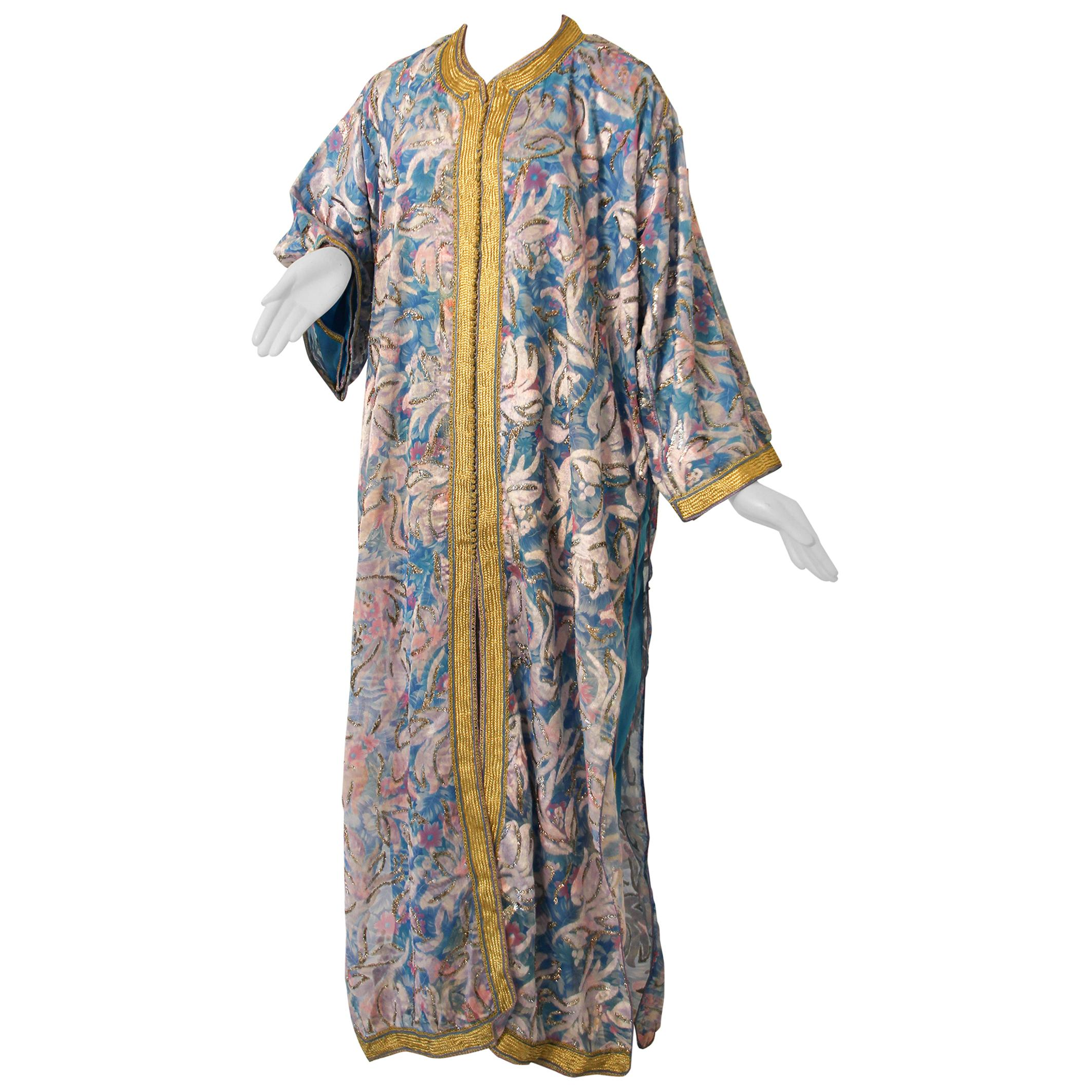 Moroccan Kaftan in Turquoise and Gold Floral Brocade Metallic Lame