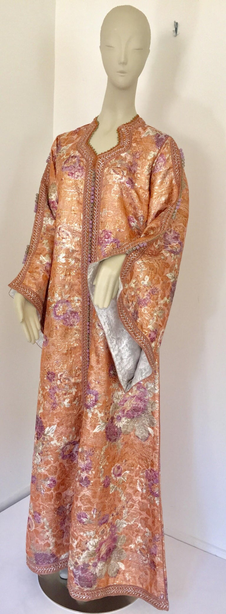 Moroccan Kaftan Orange and Purple Floral with Gold Embroidered Maxi Dress Caftan For Sale 4
