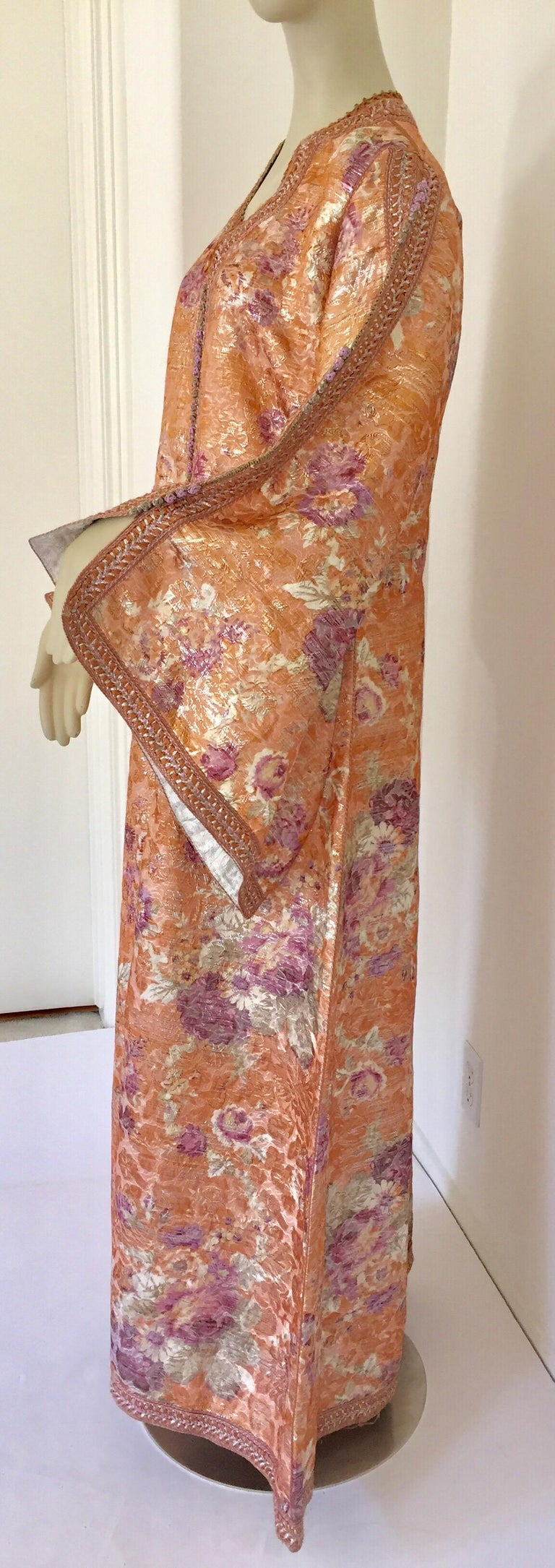 Moroccan Kaftan Orange and Purple Floral with Gold Embroidered Maxi Dress Caftan For Sale 5