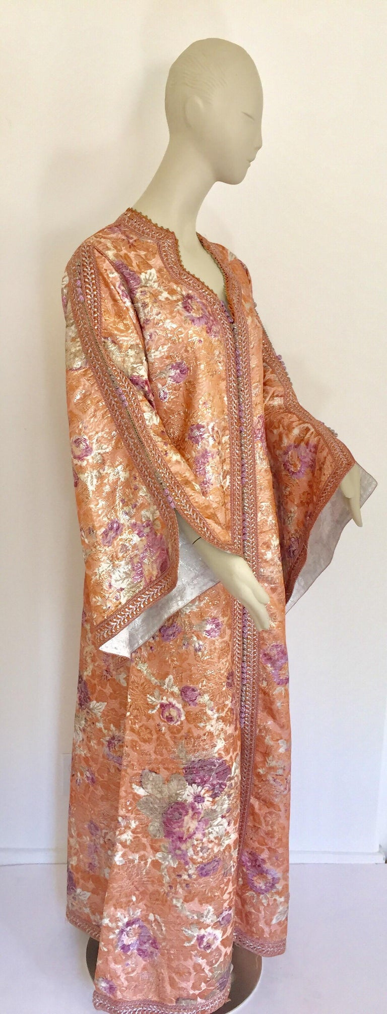Moroccan Kaftan Orange and Purple Floral with Gold Embroidered Maxi Dress Caftan For Sale 6