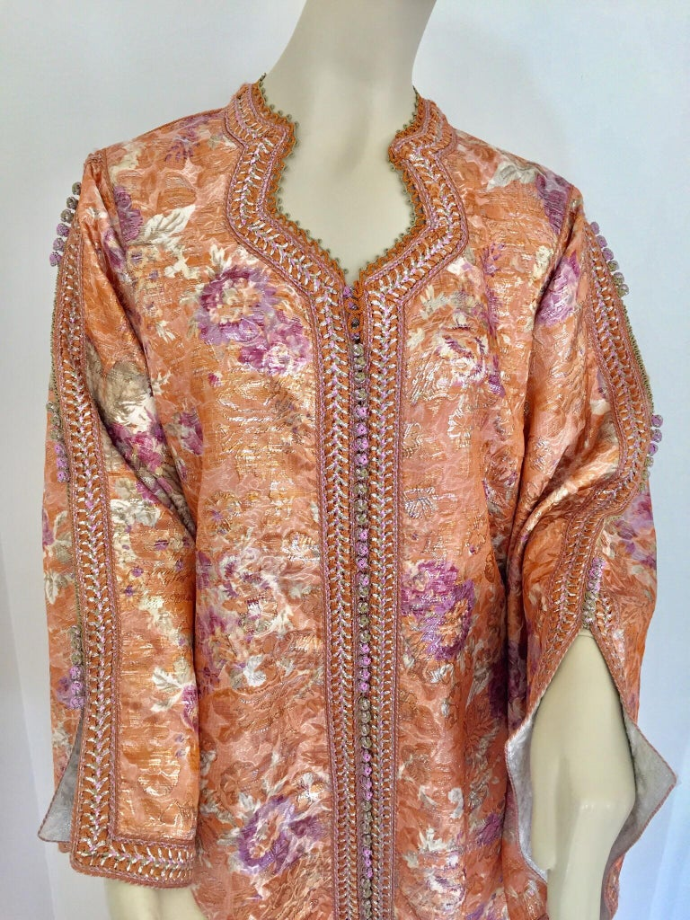 Moroccan Kaftan Orange and Purple Floral with Gold Embroidered Maxi Dress Caftan For Sale 7