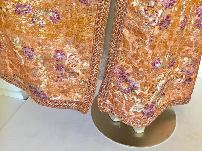 Moroccan Kaftan Orange and Purple Floral with Gold Embroidered Maxi Dress Caftan For Sale 8