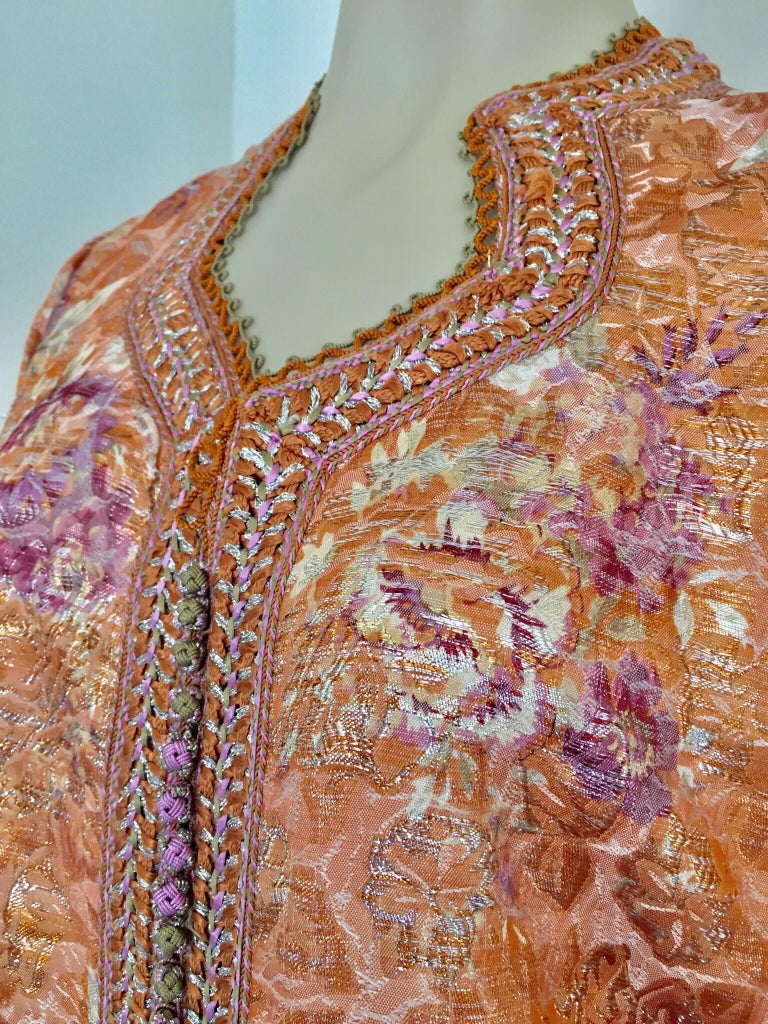 Moroccan Kaftan Orange and Purple Floral with Gold Embroidered Maxi Dress Caftan For Sale 9