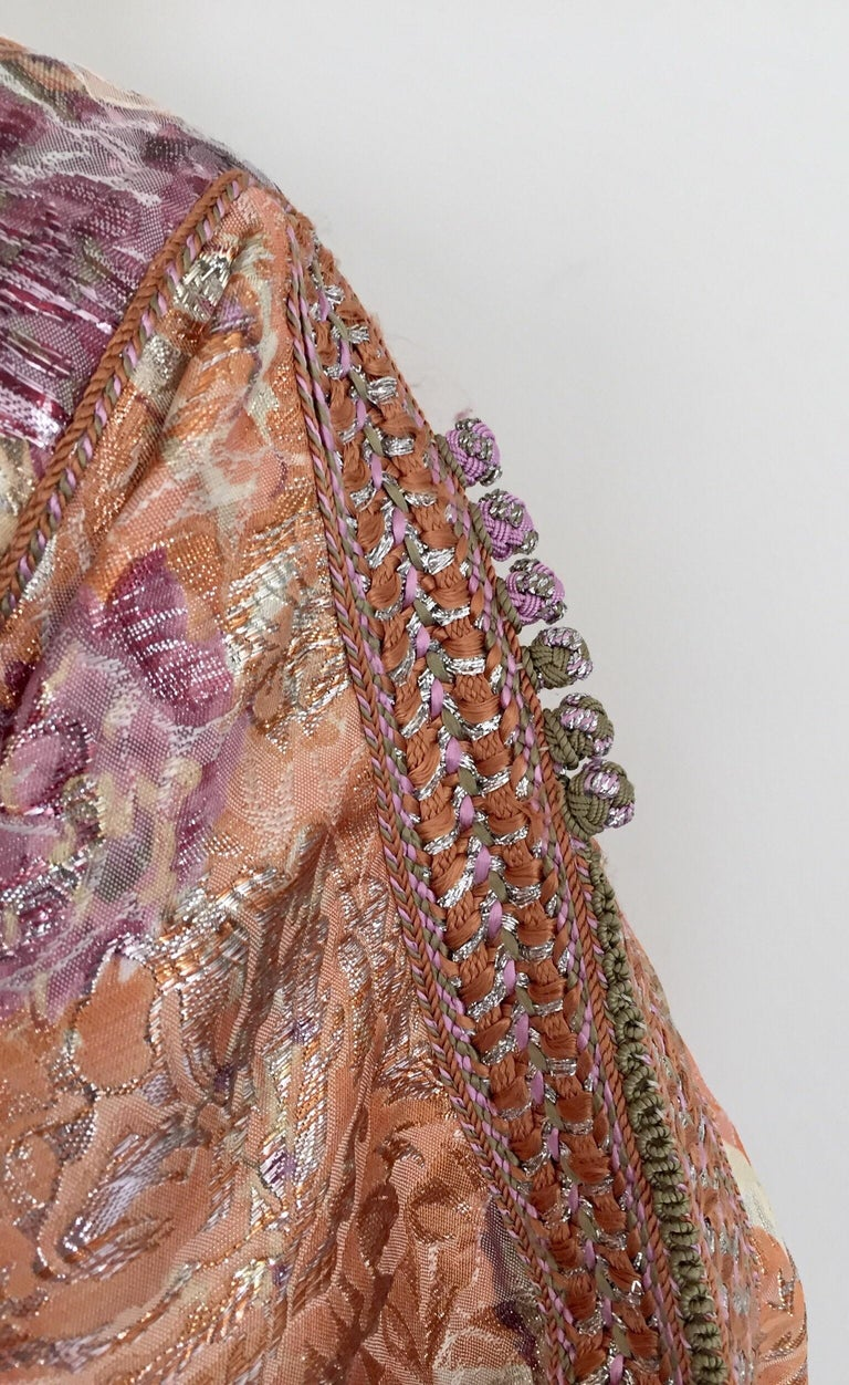Moroccan Kaftan Orange and Purple Floral with Gold Embroidered Maxi Dress Caftan For Sale 10