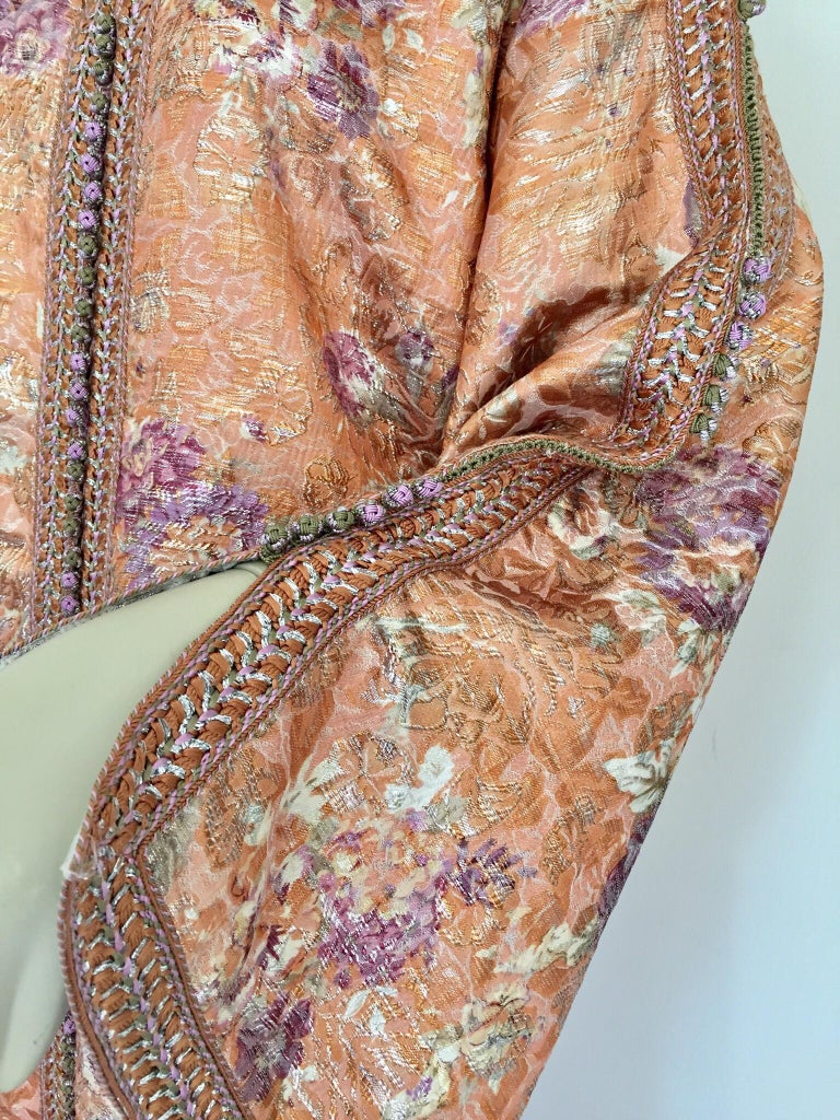 Moroccan Kaftan Orange and Purple Floral with Gold Embroidered Maxi Dress Caftan For Sale 11