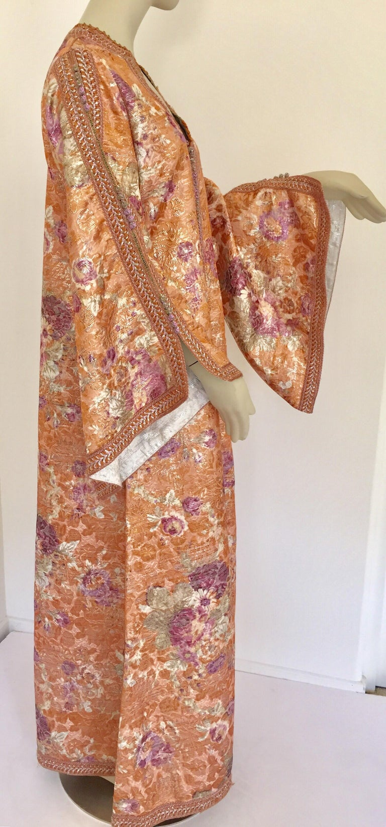 Moroccan Kaftan Orange and Purple Floral with Gold Embroidered Maxi Dress Caftan For Sale 12