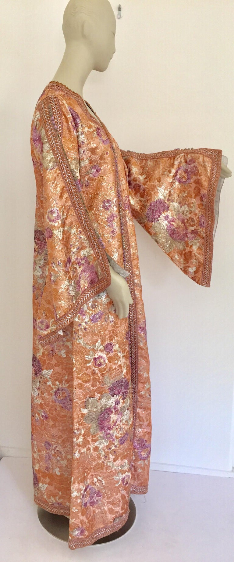 Moorish Moroccan Kaftan Orange and Purple Floral with Gold Embroidered Maxi Dress Caftan For Sale