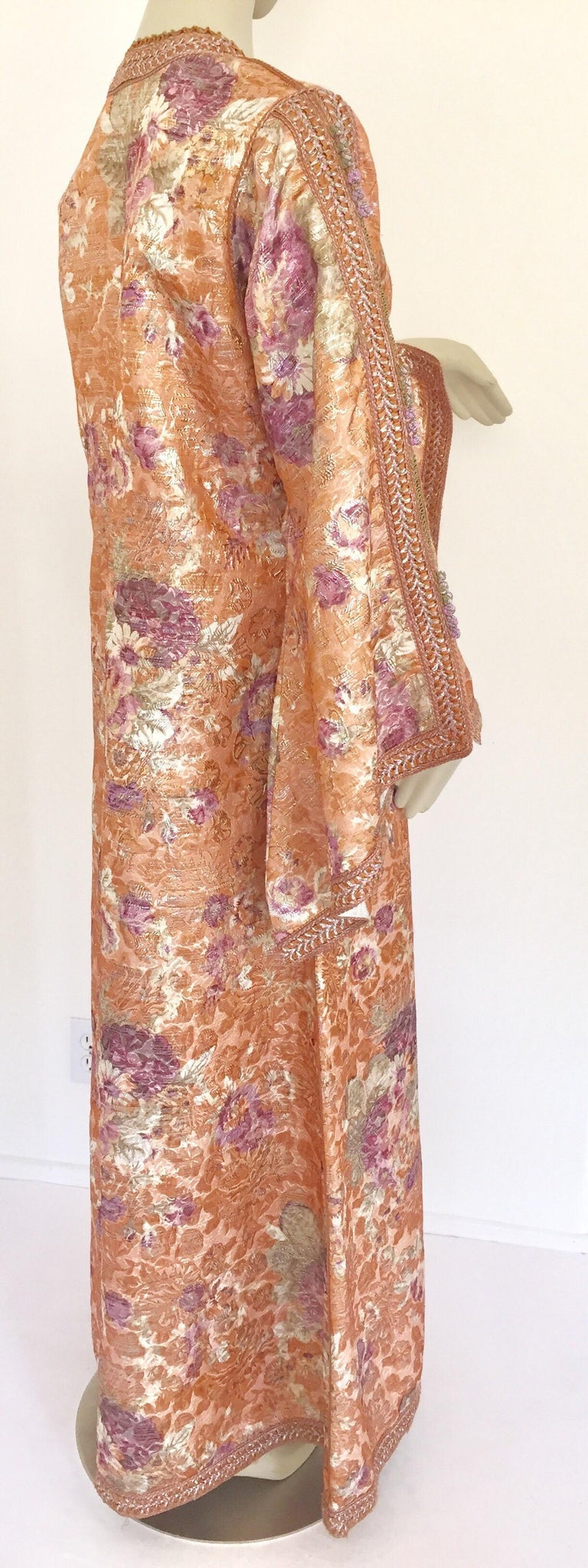 Moroccan Kaftan Orange and Purple Floral with Gold Embroidered Maxi Dress Caftan For Sale 13