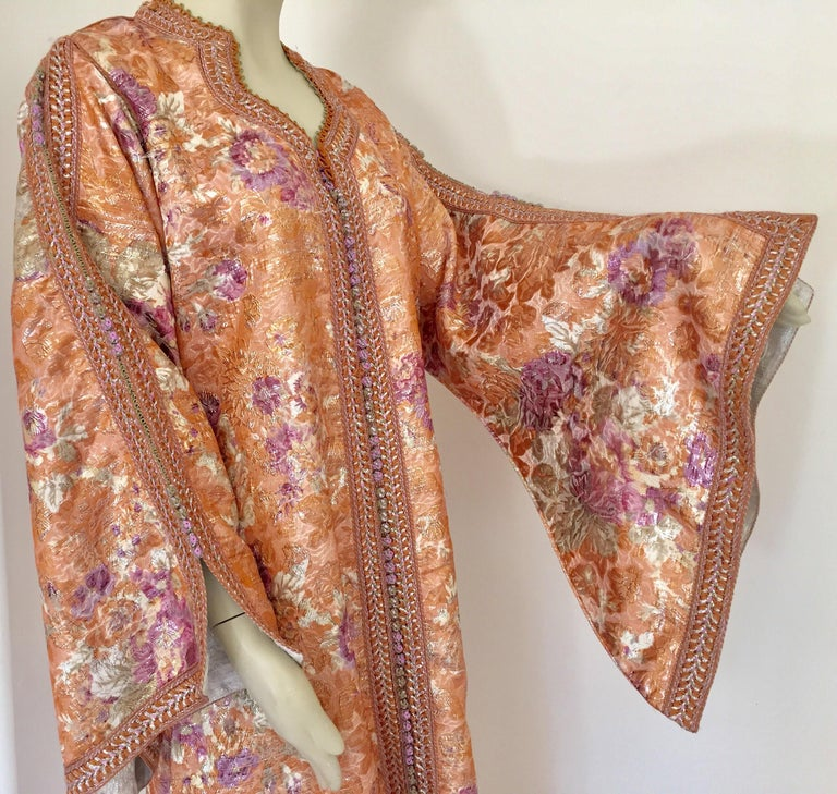 Hand-Crafted Moroccan Kaftan Orange and Purple Floral with Gold Embroidered Maxi Dress Caftan For Sale