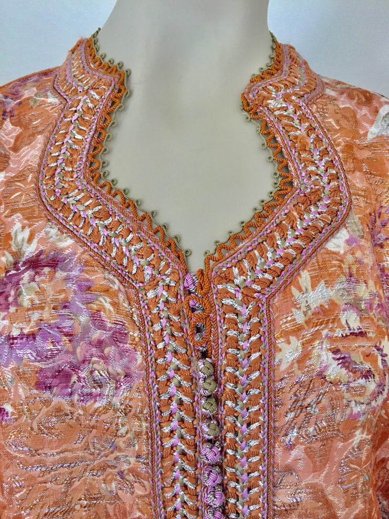 Moroccan Kaftan Orange and Purple Floral with Gold Embroidered Maxi Dress Caftan In Good Condition For Sale In North Hollywood, CA