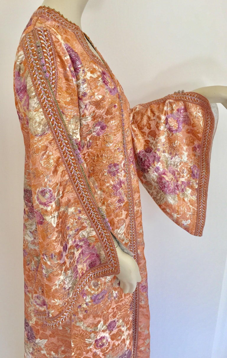20th Century Moroccan Kaftan Orange and Purple Floral with Gold Embroidered Maxi Dress Caftan For Sale
